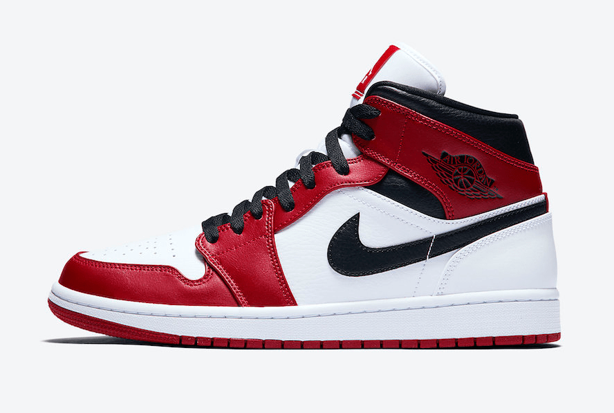 AIR JORDAN 1 MID CHICAGO WHITE HEEL